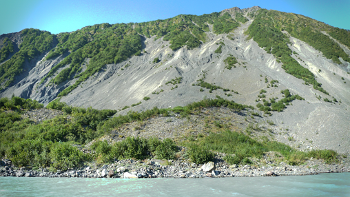 Steep slope with minimal vegetation and loose rock.