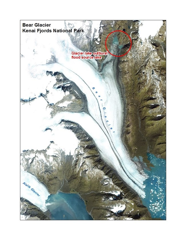 Map showing the ice-dammed lake, approximately 8.8 miles to the north of glacier's terminus.