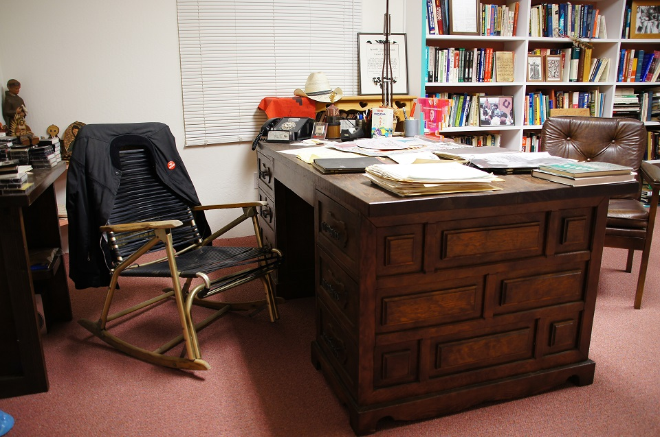 Cesar Chavez's desk covered with papers