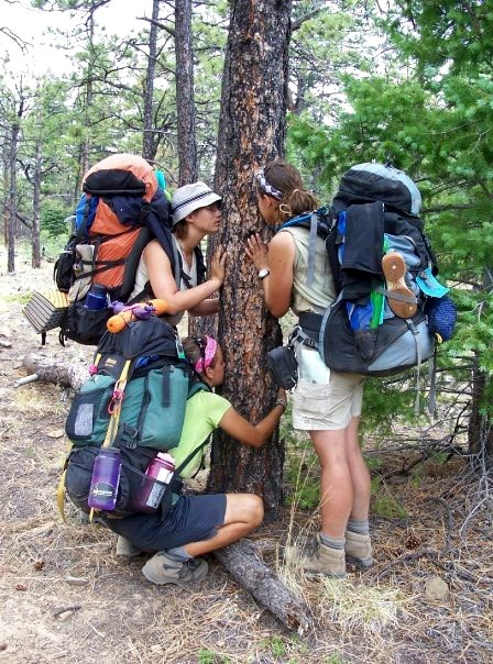 Young women hug a tree in a nature exercise on the trail