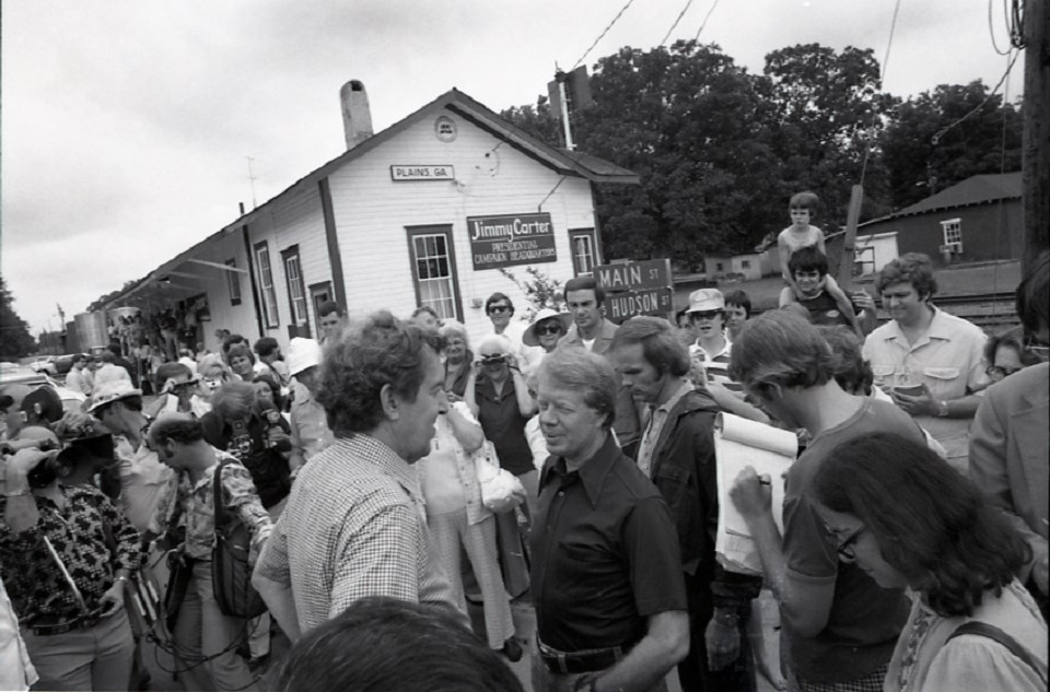 Historic photo of Jimmy Carter talking to a crowd in Plains, Georgia