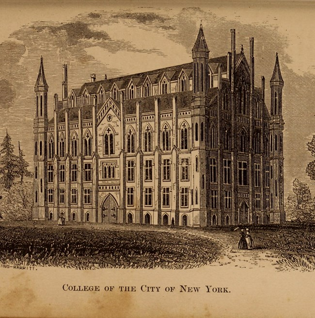 Historic drawing of a university building.