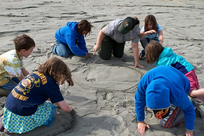 A park ranger and six students sit in a circle on the beach, drawing in the sand