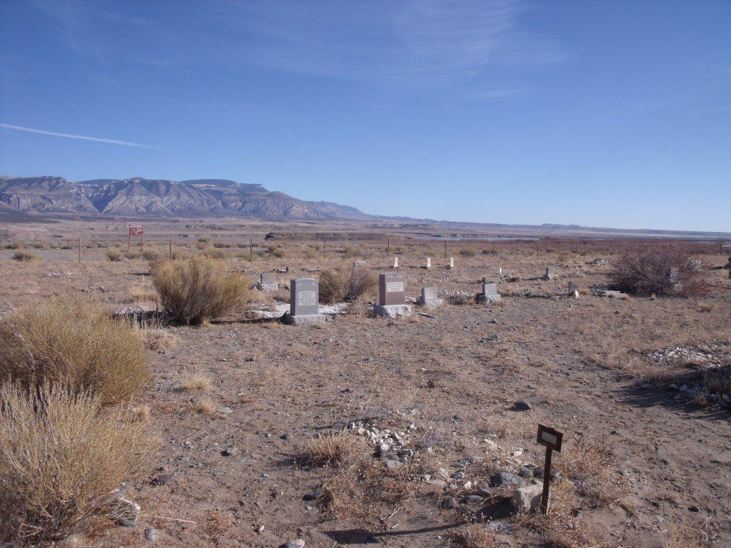 Kane/Iona Cemetery with the Bighorn Mountains in the distance