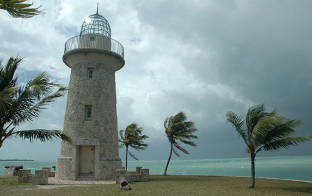 Storm approaching Boca Chita Key lighthouse in Biscayne National Park.