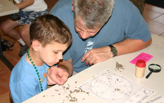 A boy and his father carefully examine the contents of an owl pellet.