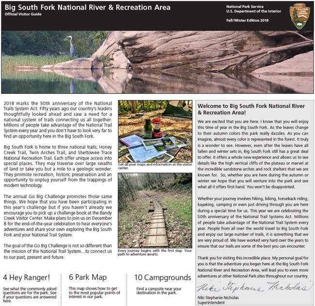 front page of Fall/Winter newspaper for Big South Fork NRRA