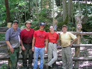volunteers work on trails