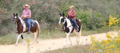 man and woman riding horse along trail with yellow flowers