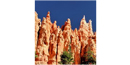 Temple-like spires can be seen in the main amphitheater at Bryce