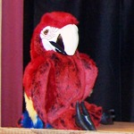 Macaw puppet is one of the stars of the puppet show