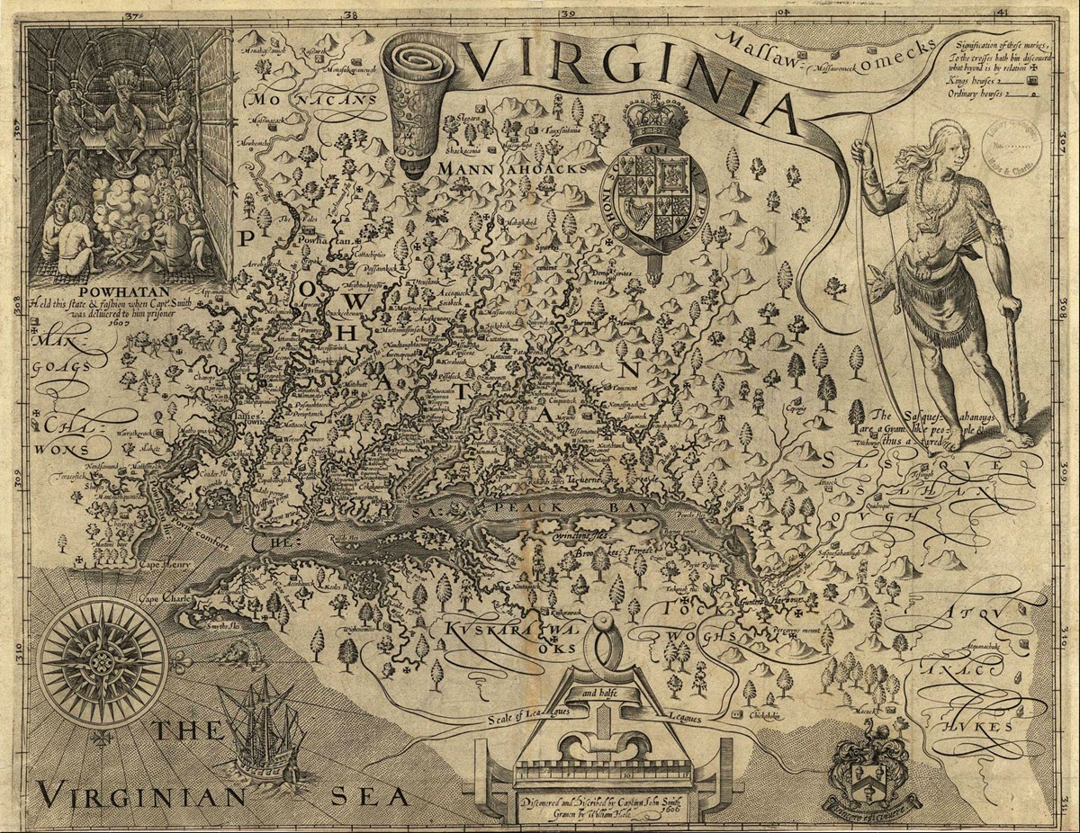 Smith's map, first published in England in 1612, was the primary map of the Chesapeake region used by colonists for nearly a century.
