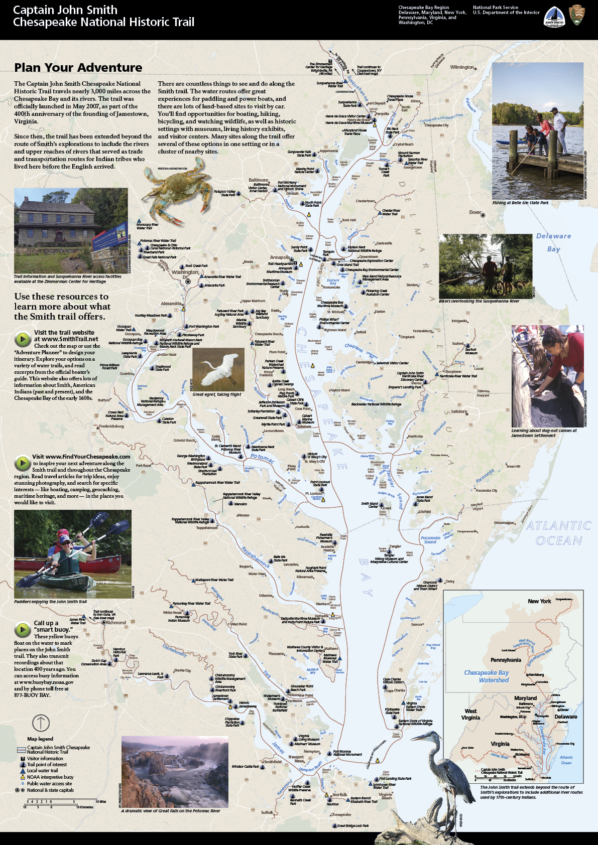 A map of the tidal Chesapeake Bay featuring the path of the Captain John Smith Chesapeake Trail and images around the region. There is also an inset map of the entire Chesapeake Bay watershed, showing the trail entire route up to Copperstown, NY.