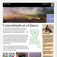 A Canyonlands National Park visitor guide with a starry sky photograph at top