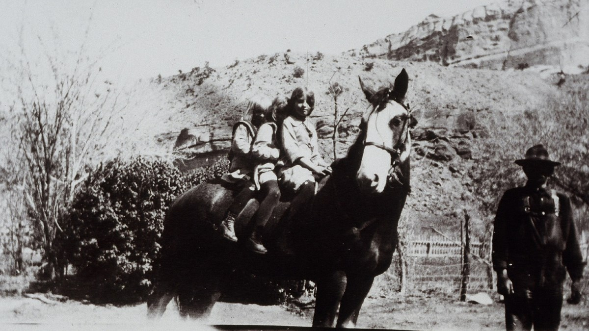 Black and white photo of three little girls on a horse, with a man holding the horse.
