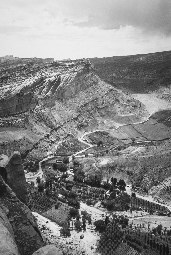 Black and white photo of valley filled with orchards surrounded by cliffs.