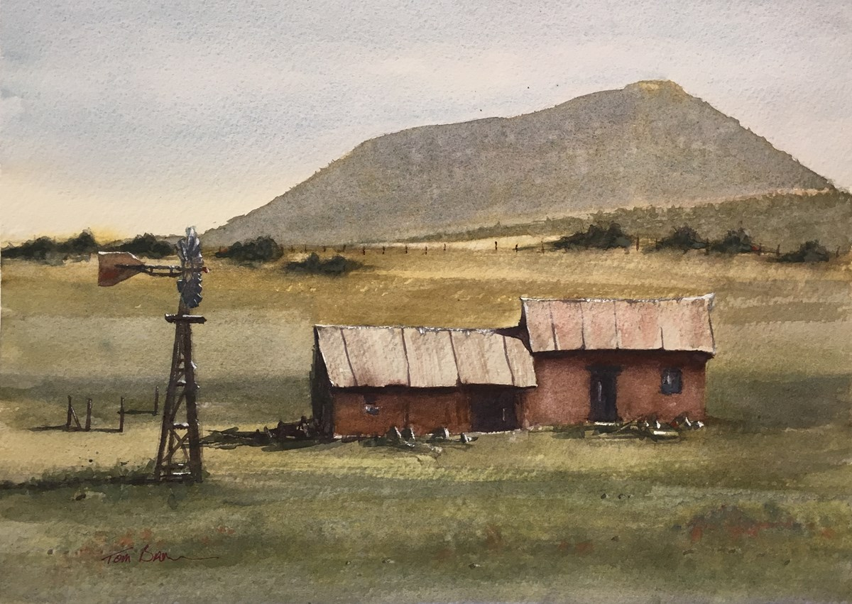 Water color paining of barn and windmill.  Capulin Volcano defines the horizon.