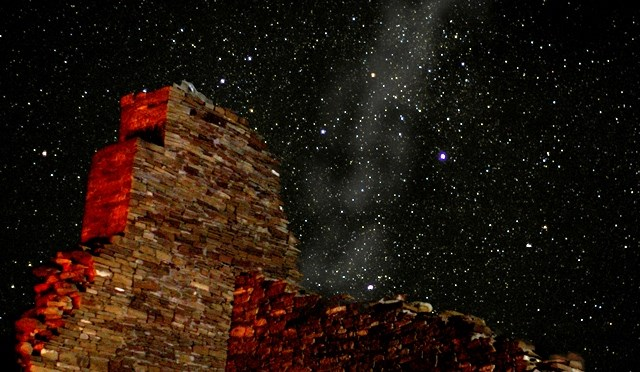Chaco great house at night, NPS photo