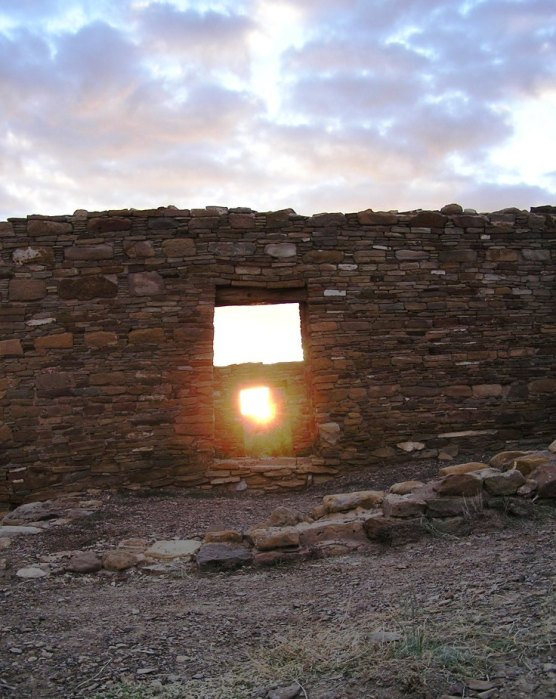 Photo of Equinox sunrise through Casa Rinconada doorway