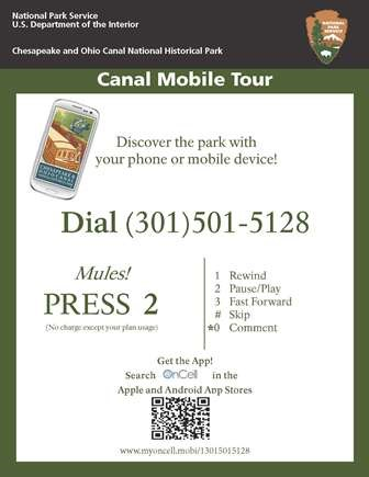 Tour sign with information on how to call or download the app.