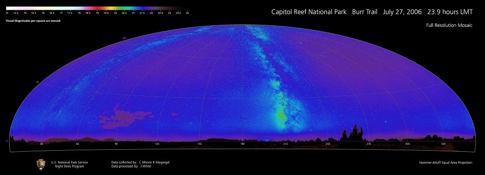 Dark sky imaging of all sources of light, including the Milky Way.