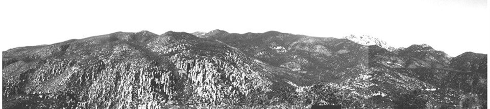 black and white photo of a rocky mountain range with lots of vegetation on lower slopes