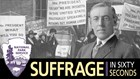 Merged image of Woodrow Wilson and suffrage pickets