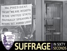 Blended image of jail door and suffrage banner