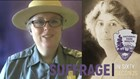 Combined photo of park ranger and Nina Allender with Suffrage in 60 Seconds logo