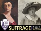 Painting and photo of Maud Younger with Suffrage in 60 Seconds Logo