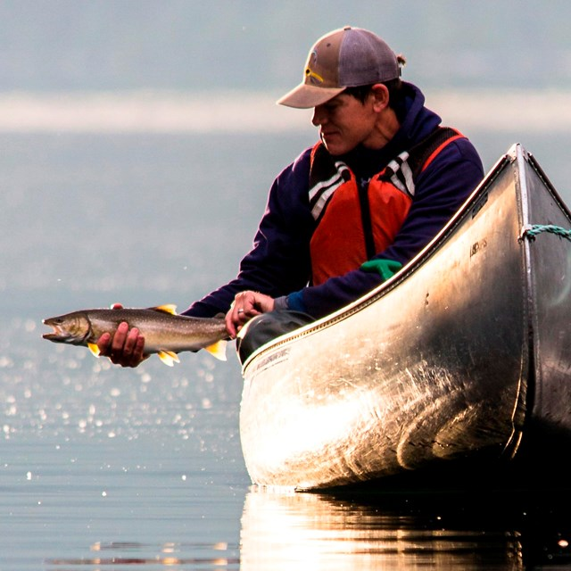 A man catches a fish while in a canoe.