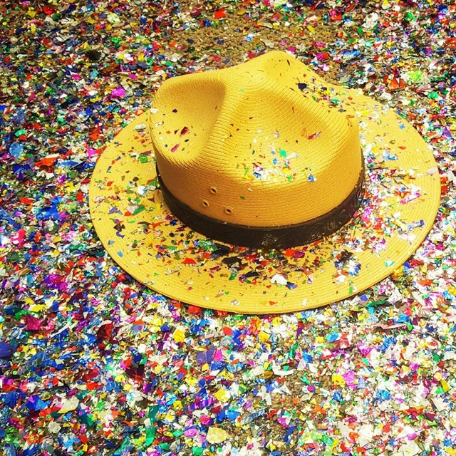 Ranger hat surrounded by confetti