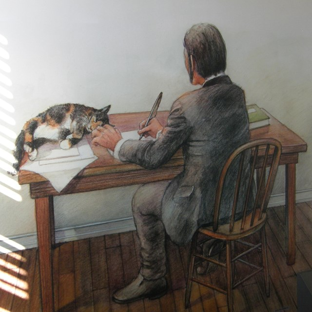 Drawing of mid-19th-century man writing at his desk with a lounging cat