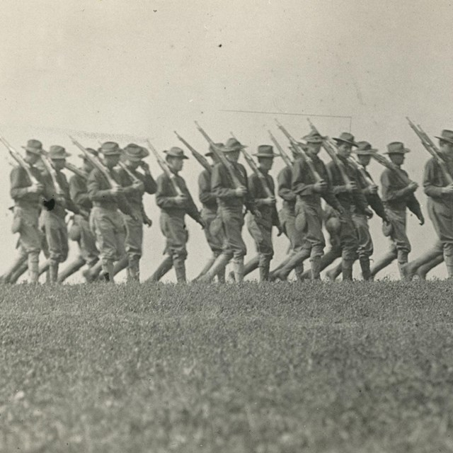 Soldiers march during a drill.