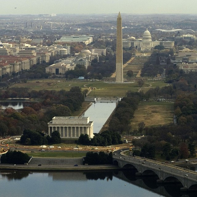 Aerial photo of the National Mall