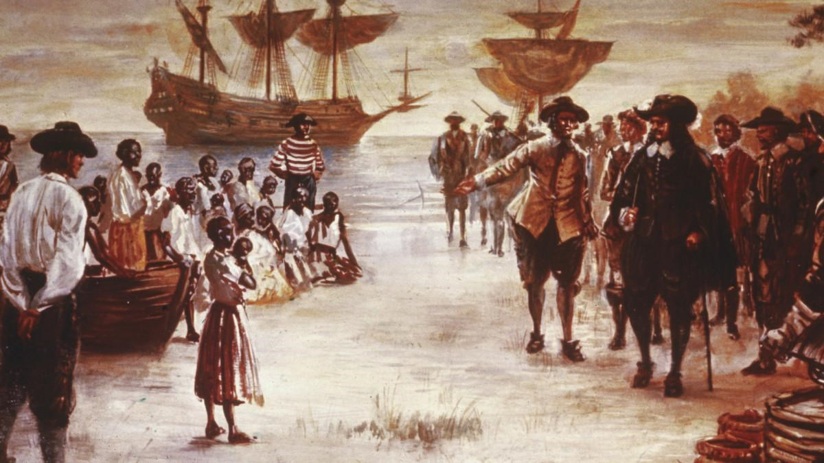 A painting of the landing of the first Africans at Old Point Comfort.