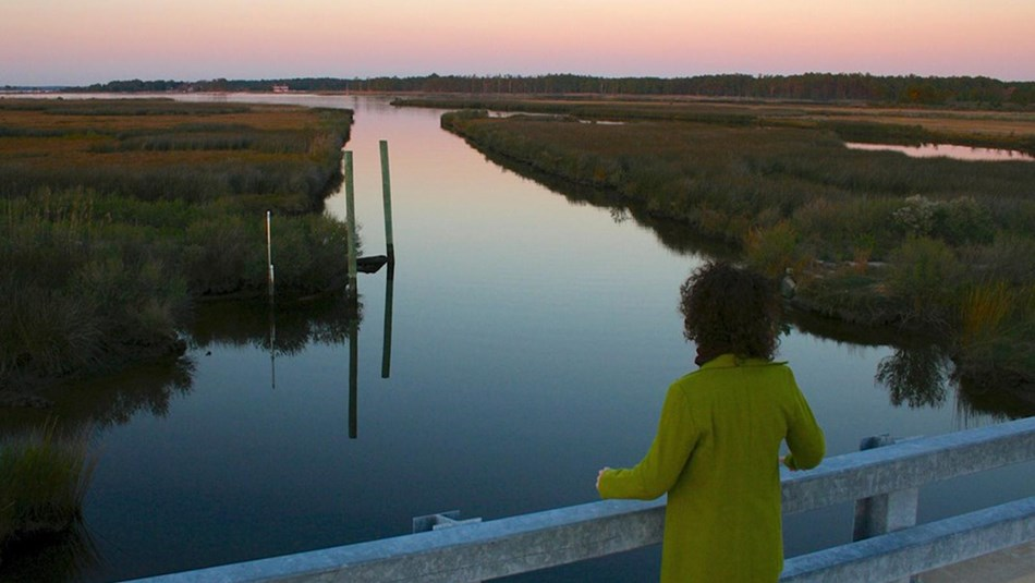A woman looks out over the Eastern Shore of Maryland.