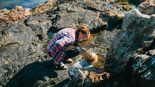 Woman and child explore pools and crevices in rocks along coastline