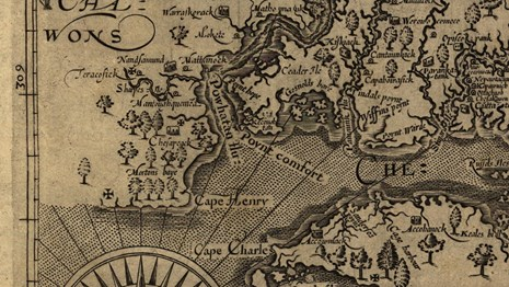 detail of a 1624 map showing Point Comfort, Virginia