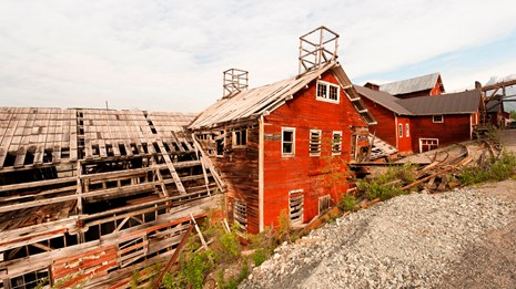 the historic structures of Kennecott Mines in Wrangell-St. Elias NP