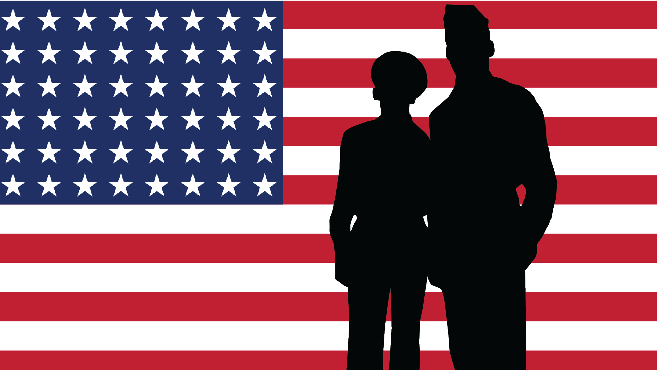 Two silhouettes of uniformed people in front of a 48 star flag