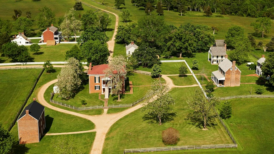 Aerial view of the village, Appomattox Court House