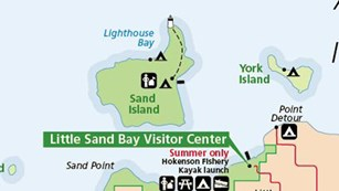 A small inset map showing Sand and York Islands and the Little Sand Bay area.