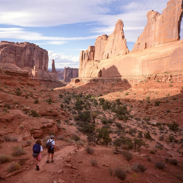 people walk on a trail beneath high cliff walls