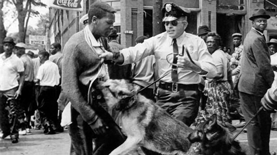 Young, male, African American protester being attacked by police dogs