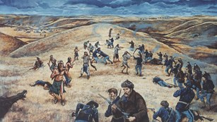 Painting depicting soldiers and Nez Perce warriors during battle.