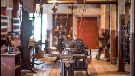 Image of machines in an old mill buidling