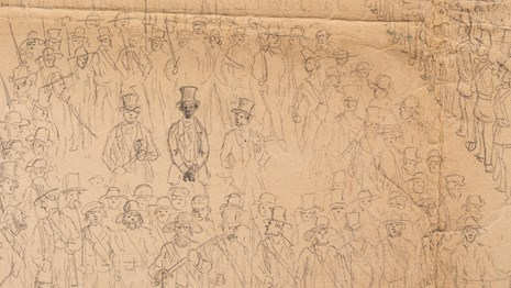 Sketch of Anthony Burns being surrounded by soldiers during his rendition.