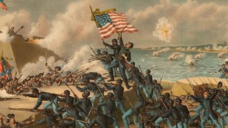 Print of Union soldiers storming the walls of Fort Wagner and fighting Confederate soldiers.