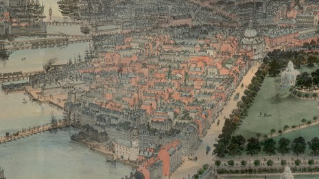 1850 color aerial map of the neighborhood of Beacon Hill.